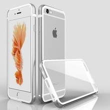 Husa Business Deluxe PC transparent + rama din metal  pentru iPhone 6 / iPhone 6S  - Silver
