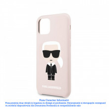 Husa iPhone 11 Pro Max Karl Lagerfeld Silicone Iconic Roz