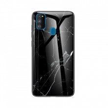 Husa Samsung Galaxy M21 Marble, Tempered Glass PC + TPU – Black