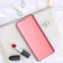 Husa Flip Stand Mirror Effect, Clear View, Samsung Galaxy J4 Plus 2018, Rose