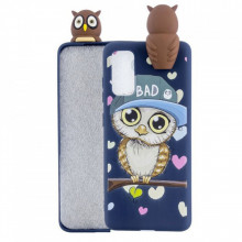 Husa Fusion 3D Animal Doll Decor Printing pentru Samsung Galaxy A51, Bad, Albastra