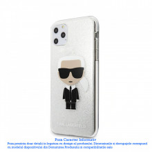 Husa iPhone 11 Pro Max Karl Lagerfeld Iconic Glitter Silver
