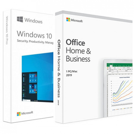Microsoft Windows 10 PRO ESD Retail 32/64 Bit FPP Electronica + Microsoft Office Home and Business 2019 PC/MAC, All languages, FPP, Electronica
