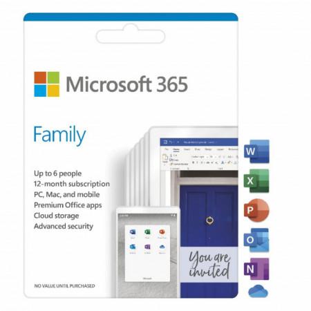 Microsoft 365 Family, all languages, Subscriptie 1 an - 6 utilizatori, pentru Windows/Mac, iOS si Android, licenta electronica