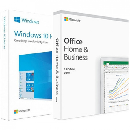 Microsoft Windows 10 Home, 32/64 bit, Engleza, Retail, Electronica + Microsoft Office Home and Business 2019 Electronic