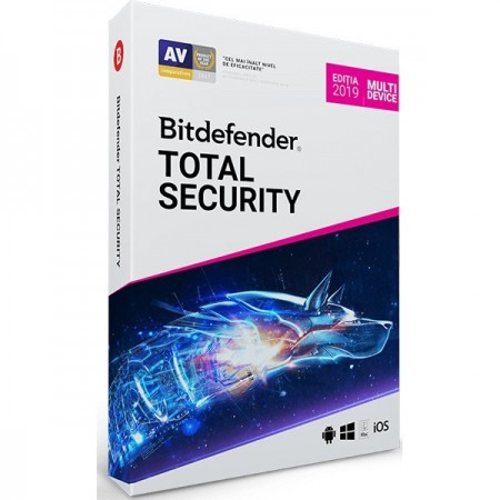 Bitdefender Total Security 2019, 5 PC, 1 an, Licenta noua, BOX/Retail