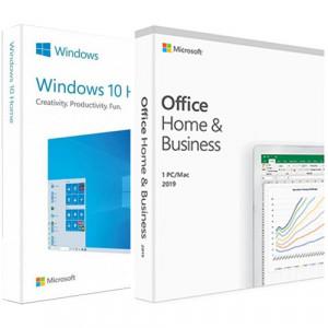 Microsoft Windows 10 Home, 32/64 bit, Engleza, Retail, USB + Microsoft Office Home and Business 2019 PC/MAC, All languages, FPP, BOX