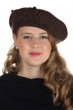 Poze Bereta cu funda tricotata, culoare maro