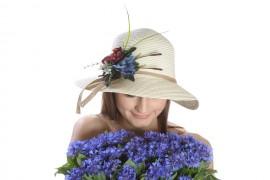 Poze Palarie de soare dama, culoare bej uni, decorata cu aranjament floral