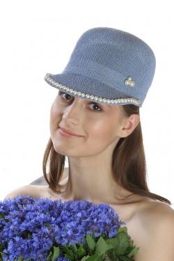 Poze Sapca de soare dama, bleu, accesorizata cu perlute