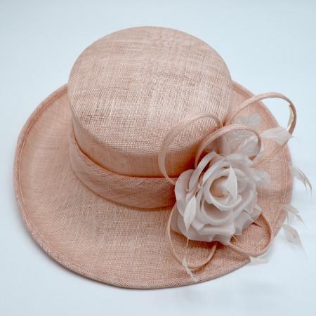Poze Palarie dama eleganta, culoare bej-roz.