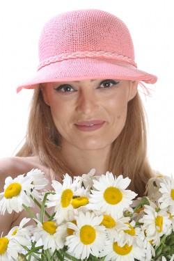 Poze Palarie de soare dama, roz, cu bor asimetric
