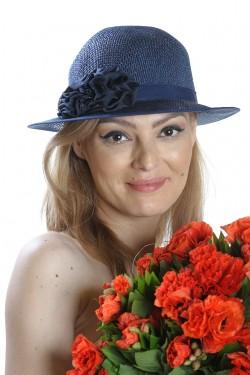Poze Palarie de soare dama, bleumarin, accesorizata cu banda satinata si doua flori