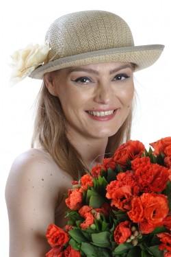Poze Palarie de soare dama, accesorizata cu floare din dantela