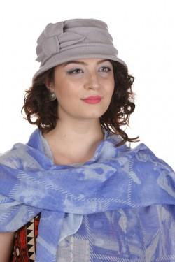 Poze Esarfa clasica bleu cu imprimeu retro