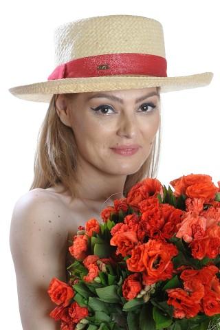 Palarie de soare dama, bej uni, decorata cu banda rosie cu funda