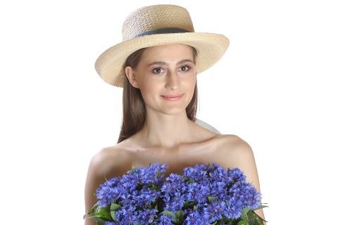 Palarie de soare dama, bej uni, decorata cu banda bleumarin cu funda