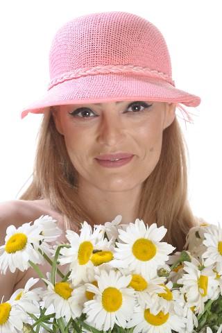 Palarie de soare dama, roz, cu bor asimetric