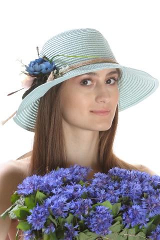 Palarie de soare dama, culoare bleu uni, decorata cu aranjament floral