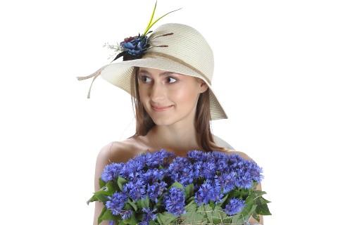 Palarie de soare dama, culoare bej uni, decorata cu aranjament floral
