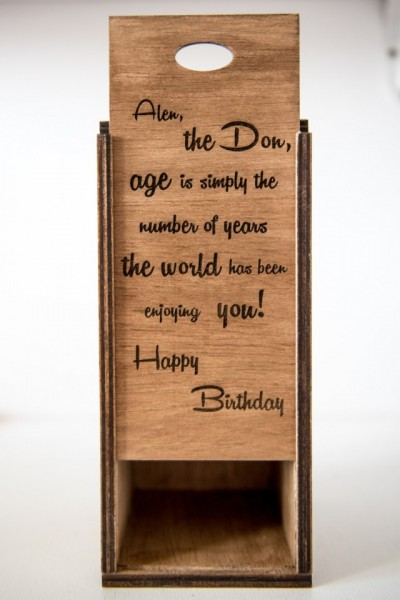 Cutie personalizata din ceiba pentru cadou 24 x 10cm