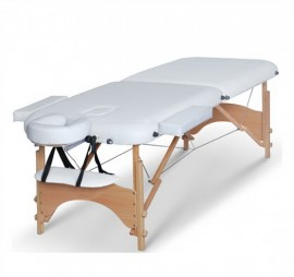Poze Masa masaj 2 sectiuni - Pliabila si portabila - structura Lemn - Alb