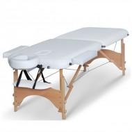 Masa masaj 2 sectiuni - Pliabila si portabila - structura Lemn - Alb