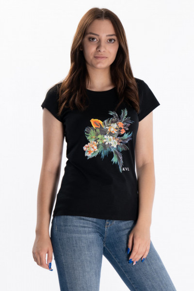 KVL - Tricou dama cu imprimeu colorat si logo