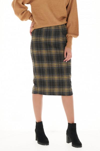 Timeout - Fusta dama din tricot cu model in carouri