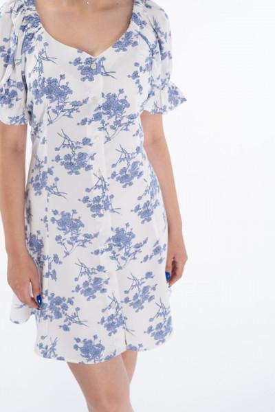 KVL - Rochie vaporoasa cu imprimeu floral si snur in talie