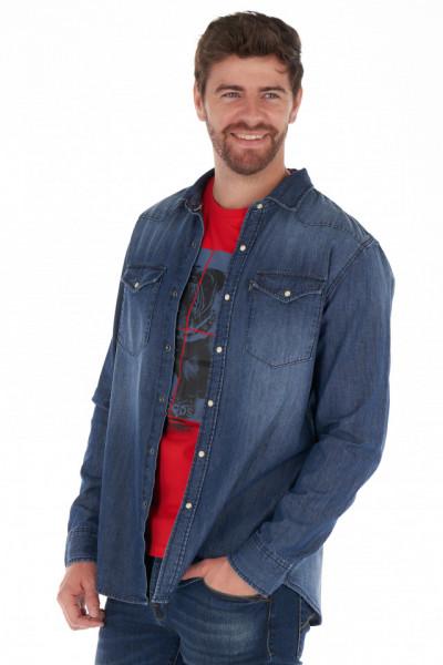 Lee Cooper - Camasa barbat din denim cu buzunare aplicate