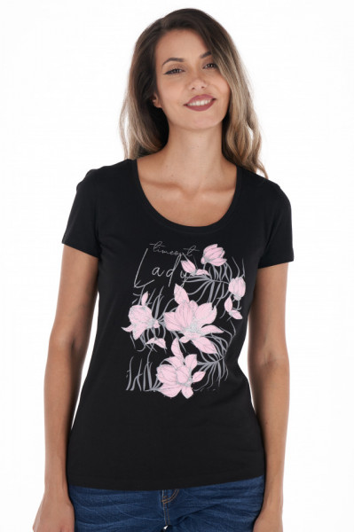 Timeout - Tricou dama cu maneca scurta si imprimeu floral