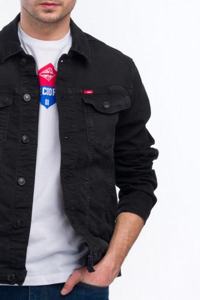 Lee Cooper - Jacheta din denim cu buzunare aplicate si logo pe piept