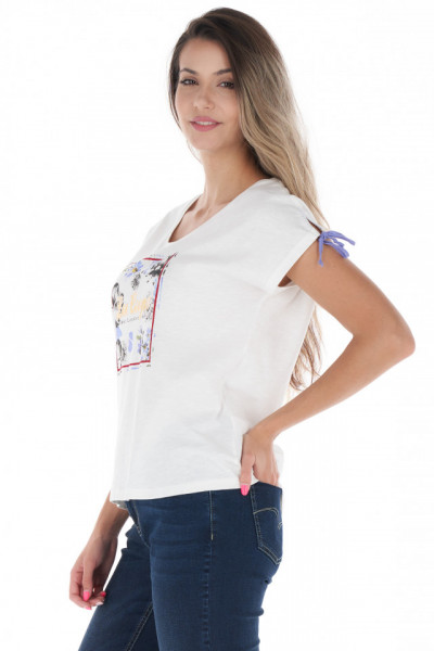 Lee Cooper - Tricou dama cu model imprimat si detaliu de prindere