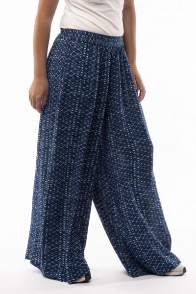 Timeout - Pantaloni evazati de dama cu imprimeu si buzunare