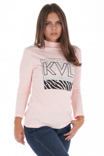 KVL - Bluza subtire dama din bumbac cu imprimeu si logo pe piept