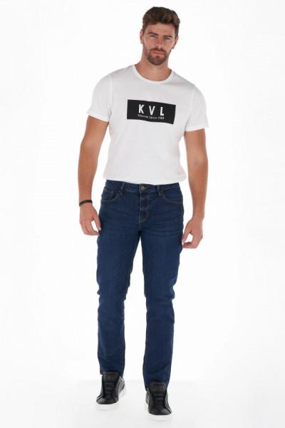 KVL - Blugi straight fit barbat culoare uni