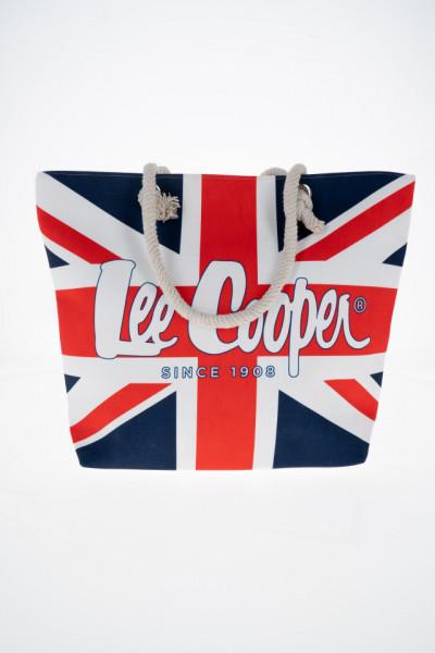 Lee Cooper - Geanta de plaja cu fermoar si logo imprimat