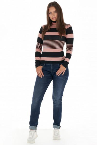 Lee Cooper - Pulover subtire dama cu guler inalt si model in dungi