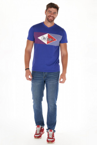 Lee Cooper - Tricou barbat cu maneca scurta si imprimeu cu logo texturat