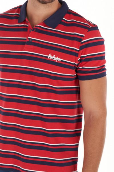 Lee Cooper - Tricou barbat tip polo cu model in dungi si logo