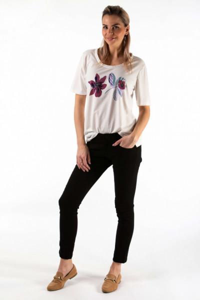 Montecristo - Tricou dama cu motiv floral si detalii la baza gatului