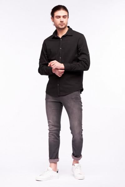 Timeout - Camasa regular fit culoare uni si maneci ajustabile