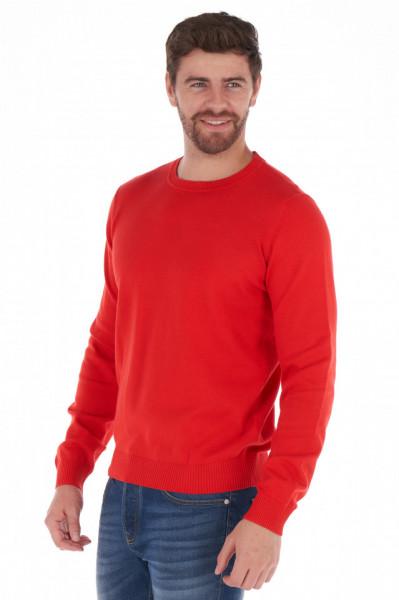 KVL - Pulover basic barbat din bumbac si culoare uni