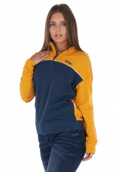 Lee Cooper - Bluza dama in doua culori cu guler inalt si logo brodat