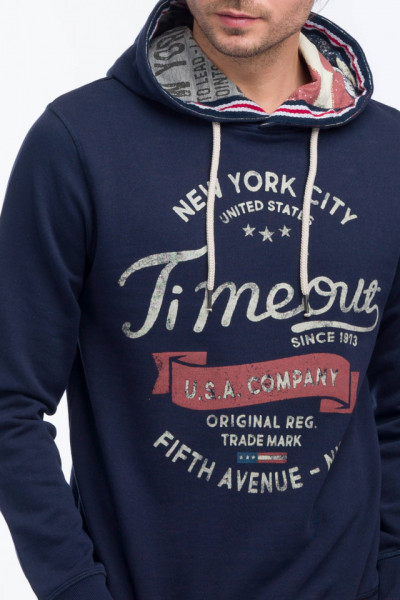 Timeout - Bluza maneca lunga cu gluga si imprimeu