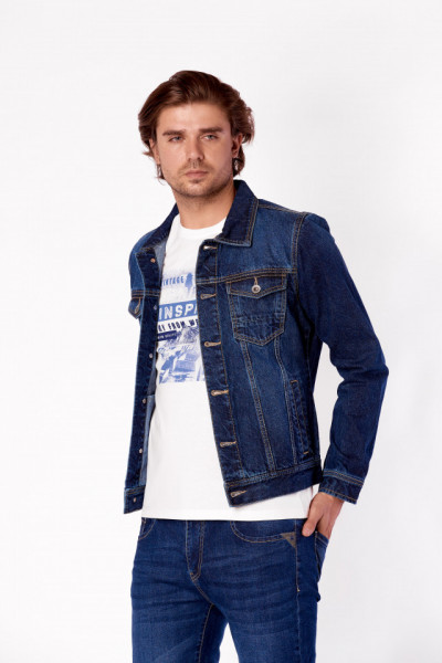 JACHETA DENIM DE GROSIME BARBAT DARK BLUE KVL