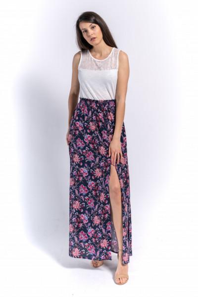 KVL - Fusta lunga dama cu banda elastica si imprimeu floral