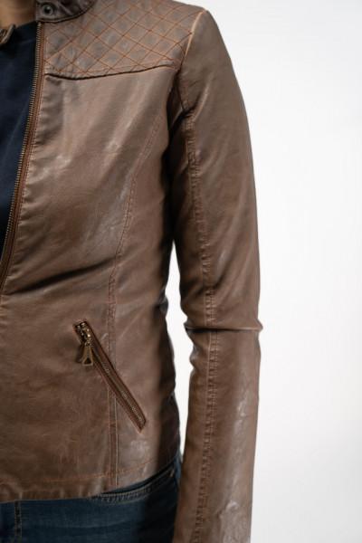 KVL - Jacheta din piele sintetica cu aspect antichizat