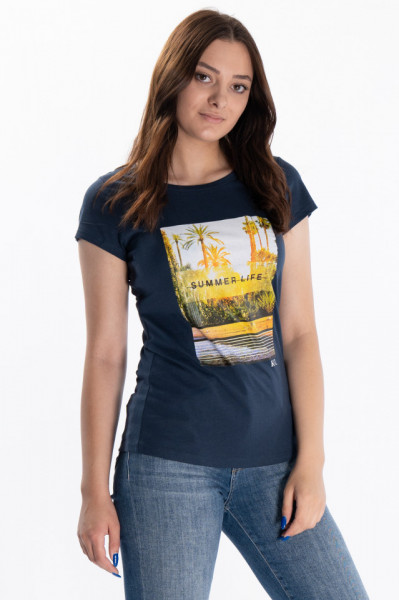 KVl - Tricou dama cu maneca scurta si imagine imprimata
